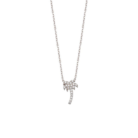 Sterling Silver small CZ Palm Tree Adjustable Necklace