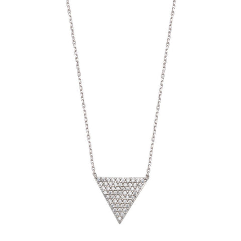 Sterling Silver Triangle Adjustable Cubic Zirconia Necklace
