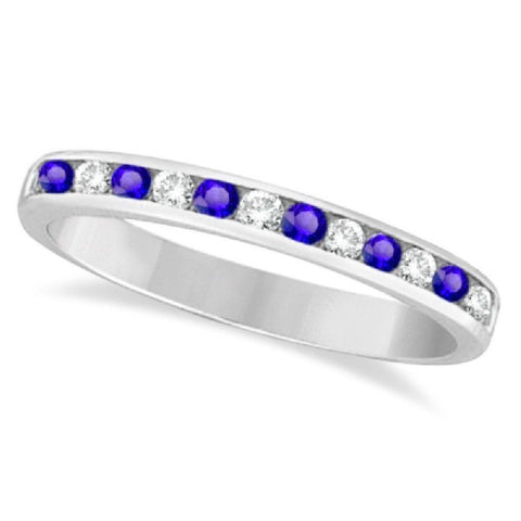 14kt White Gold 0.75ctTW Diamond and Blue Sapphire Anniversary Bands