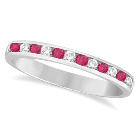 14kt White Gold 0.75ctTW Diamond and Rubellite Anniversary Bands