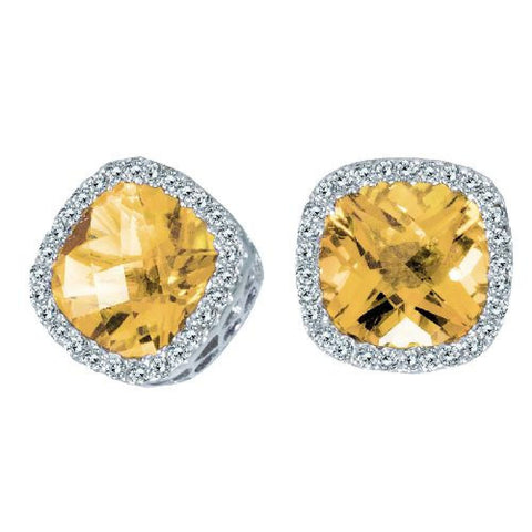 14kt White Gold Cushion Citrine and Diamond Earrings
