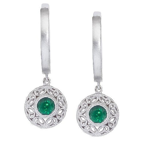 14kt White Gold Emerald Filigree Huggy Earrings