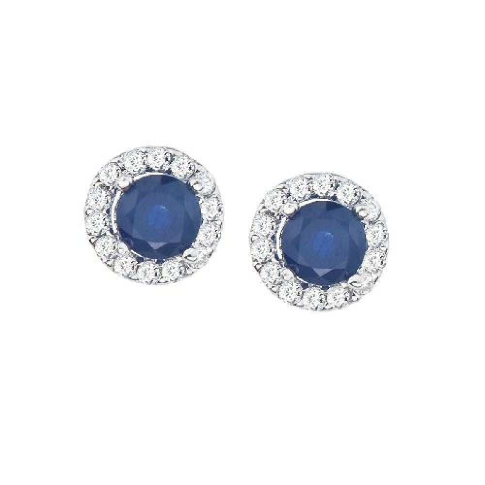 14kt White Gold, Round Blue Sapphire and Diamond Earrings