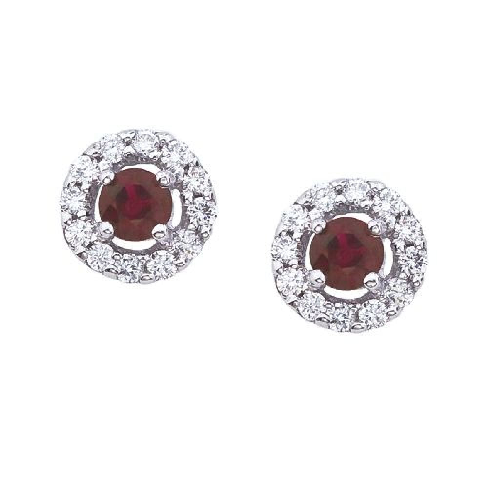 14kt White Gold, Round Ruby and Diamond Earrings