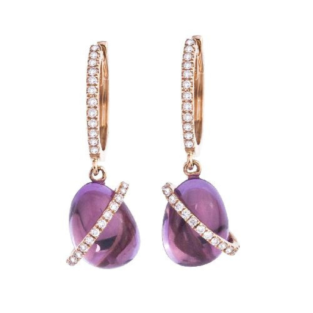 14kt White Gold Cabachon Amethyst and Diamond Earrings