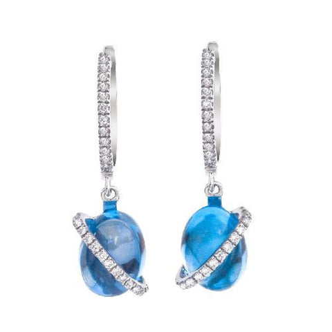 14kt White Gold Cabachon Blue Topaz and Diamond Earrings