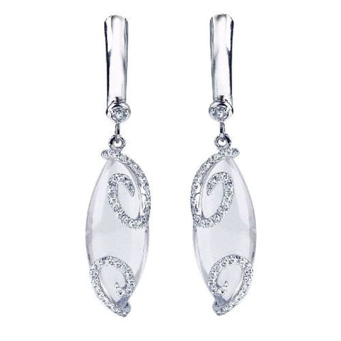 14kt White Gold Cabachon Rose Quartz and Diamond Earrings