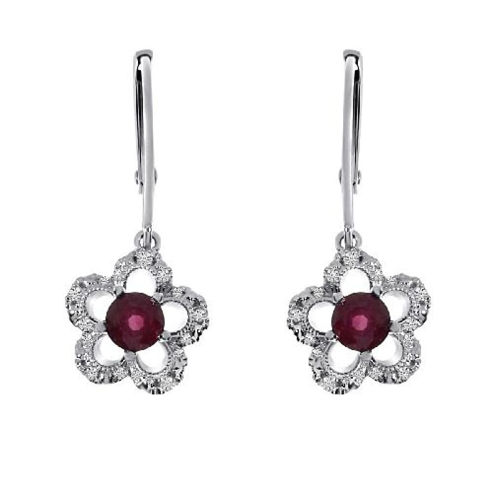 14kt White Gold Round Ruby and Diamond Flower Earrings