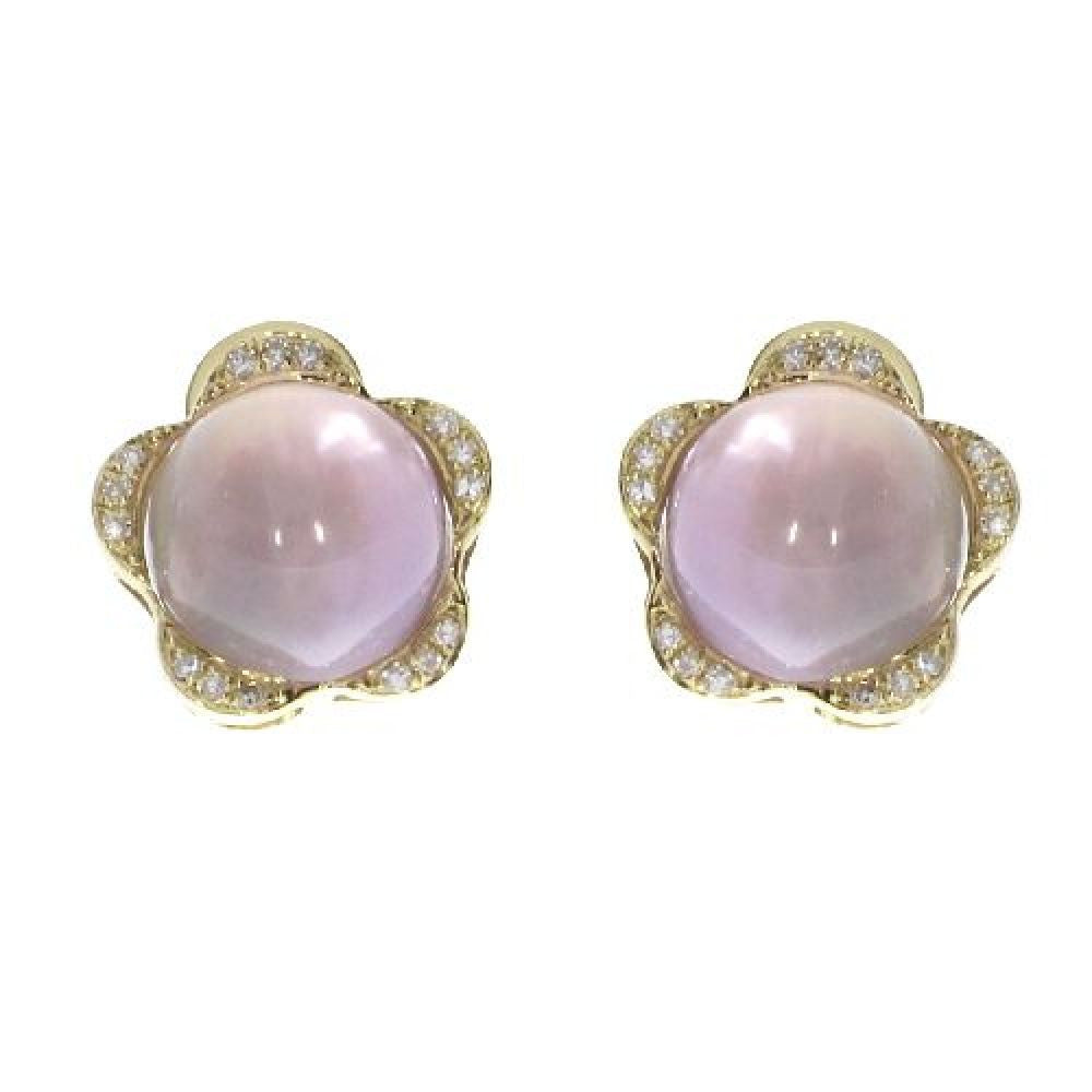 14k Yellow Gold Diamonds and Pink Amethyst Cabachon Earrings