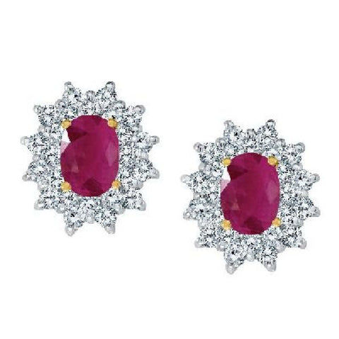 14kt White Gold Oval Ruby and Diamond Earrings
