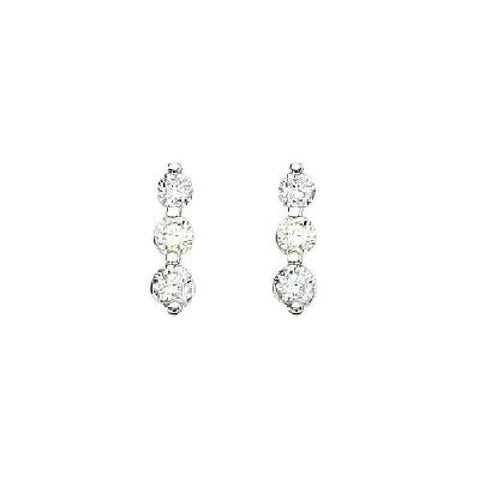 14kt White Gold 0.50ct 3 Stone Diamond Earrings