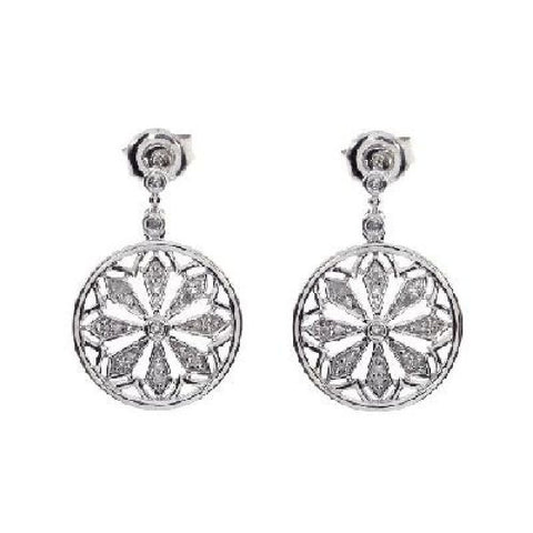 14kt White Gold Diamond Disc Dangle Earrings