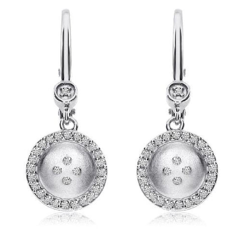 14kt White Gold Satin Button Leverback Diamond Earrings