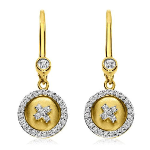 "14kt Yellow Gold ""X"" Satin Button Leverback Diamond Earrings"