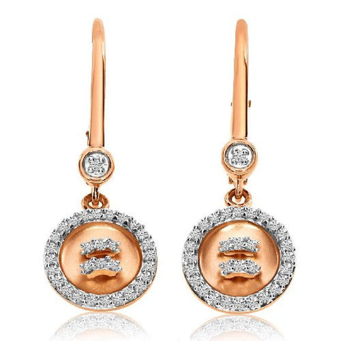 14kt Rose Gold Satin Button Leverback Diamond Earrings