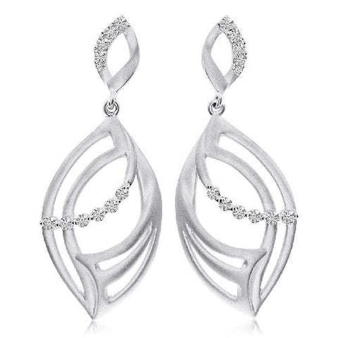 14kt White Gold Marquise Satin Diamond Earrings