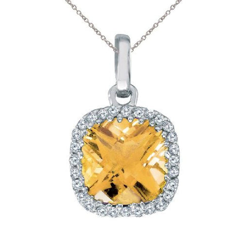 14kt White Gold Citrine Cushion Diamond Pendant