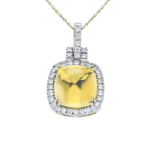 14kt White Gold Lemon Quartz Cushion Diamond Pendant