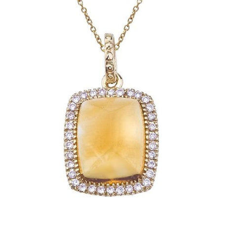 14kt Yellow Gold Cabachon Citrine and Diamond Pendant