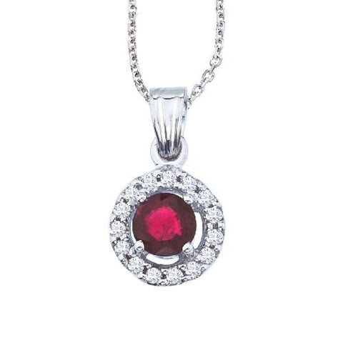 14kt White Gold Round Ruby Diamond Pendant