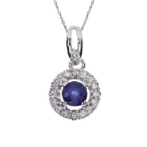 14kt White Gold Sapphire and Diamond Halo Pendant