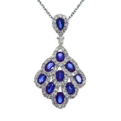 14kt Gold, Blue Sapphire and Diamond Cascading Fan Pendant