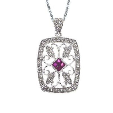14kt Gold Diamond and Ruby Rectangular Pendant