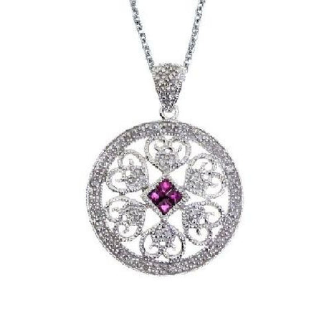 14kt Gold Diamond and Ruby Filigree Disc Pendant