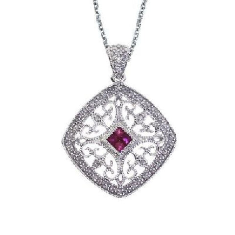 14kt Gold Diamond and Ruby Filigree Square Pendant