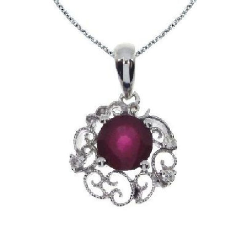 14kt White Gold Diamond and Ruby Filigree Pendant