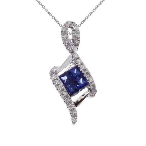 14kt White Gold Diamond and Sapphire Fashion Pendant 0.40ct TW
