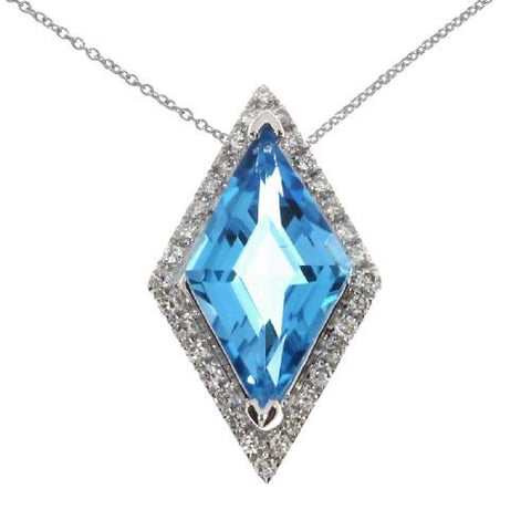 14kt Gold Diamond and Triangle Blue Topaz Pendant