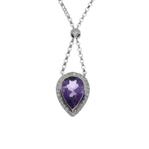 14kt White Gold Large Pear Amethyst Pendant