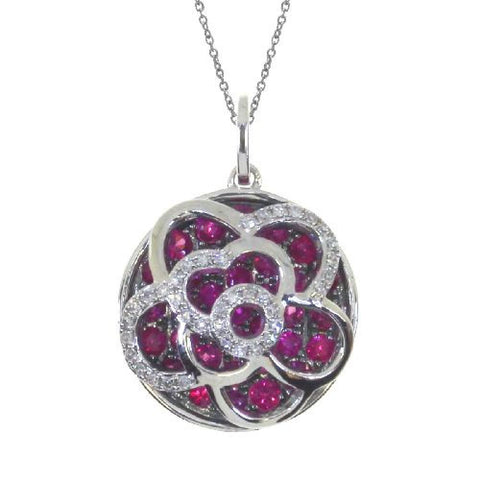 14kt White Gold Floating Ruby Round Pendant