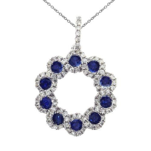 14kt White Gold Sapphire and Diamond Circle Pendant