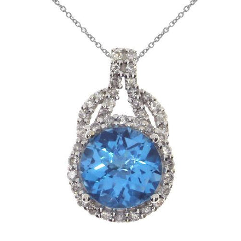 14kt Gold Diamond and Round Blue Topaz Pendant