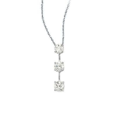 14kt White Gold 3 Stone Diamond Journey Pendant 1.00ct TW