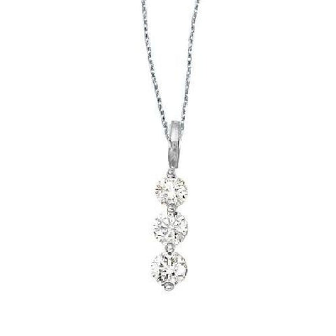 14kt White Gold 3 Stone Diamond Journey Pendant 0.75ct TW