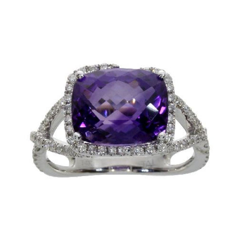 14k White Gold Diamond and Rectangular Amethyst Fashion Ring