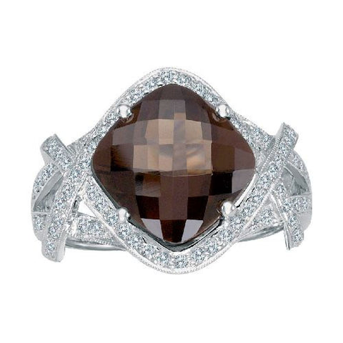 14k White Gold Diamond and Smokey Topaz Fashion Ring