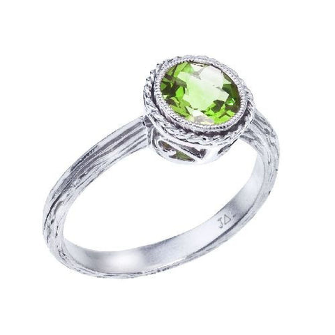 14k White Gold Peridot Braided Fashion Ring