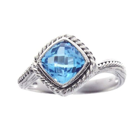 14k White Gold Blue Topaz Braided Fashion Ring