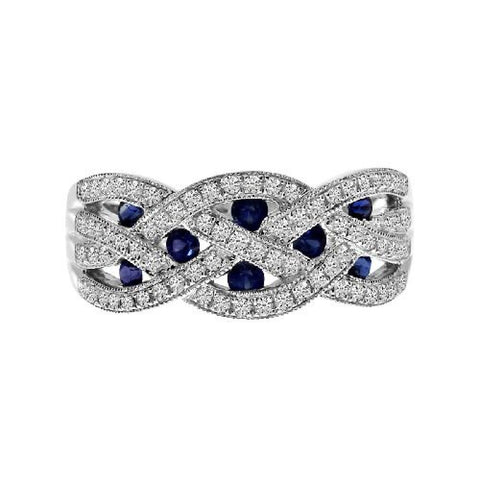 14k White Gold Diamond and Sapphire Braided Wide Band