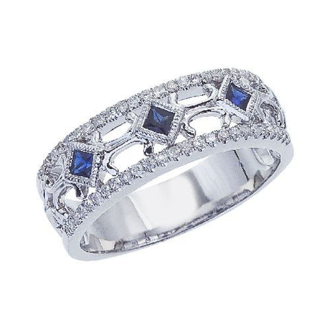 14k White Gold Diamond and Square Sapphire Open Band