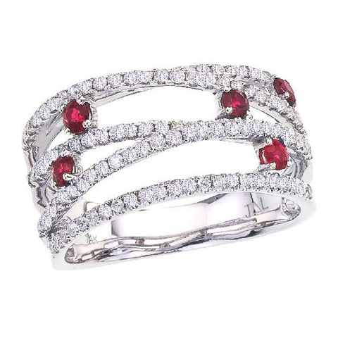 14k White Gold Diamond and Ruby Bypass Ring