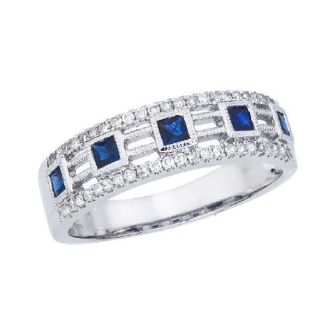 14k White Gold Diamond and Princess Sapphire Band