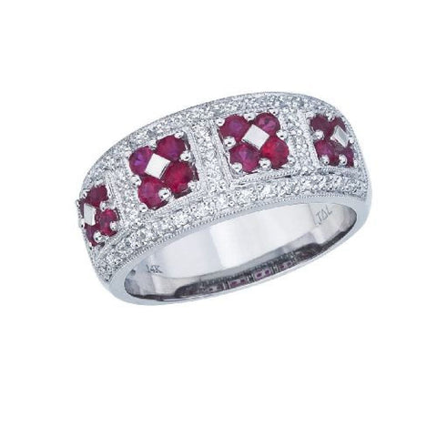 14k White Gold Diamond and Ruby Wide Fashion Band