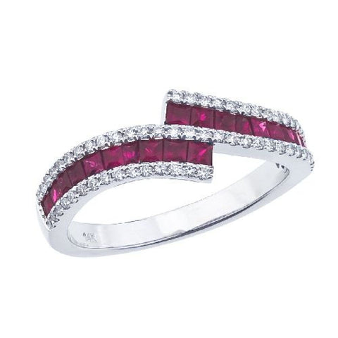 14K White Gold Ruby and Diamond Bypass Ring