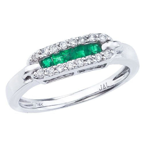 14K White Gold Square Emeralds and Diamond Ring