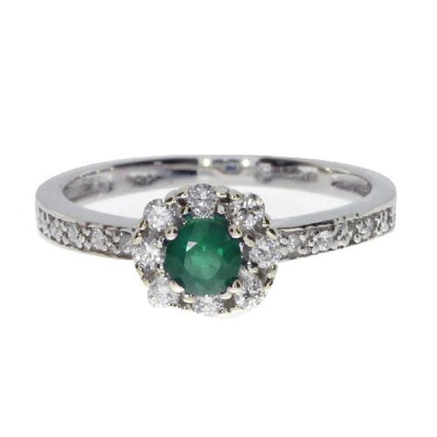 14k White Gold Diamond and Round Emerald Fashion Ring